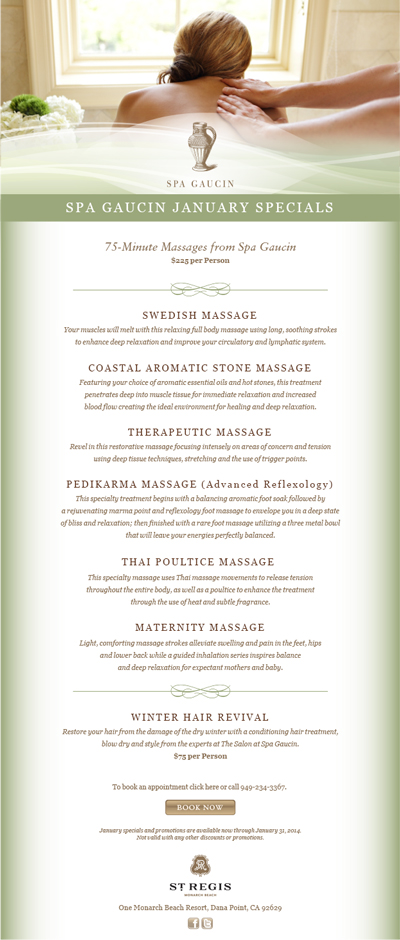 St. Regis Spa Email Marketing — Izzy Cuibus | Graphic Design