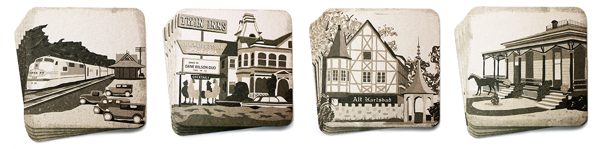 Vintage Carlsbad Coasters — Izzy Cuibus | Graphic Design